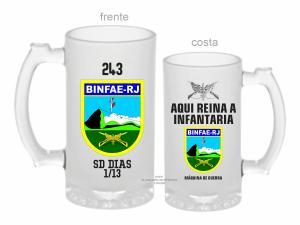 CANECA DE VIDRO JATEADA BINFAE RJ ZERO GRAU 475ml  VIDRO JATEADA