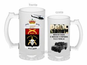 CANECA DE VIDRO JATEADA BOPE RJ ZERO GRAU 475ml  VIDRO JATEADA