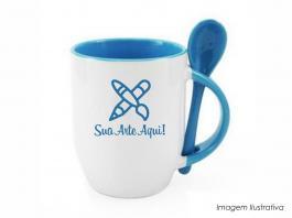 Caneca em cerâmica com colher alça e interior em azul Caneca cerâmica   Sublimação