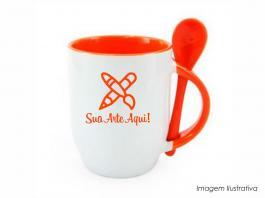 Caneca em cerâmica com colher alça e interior em laranja Caneca cerâmica   Sublimação
