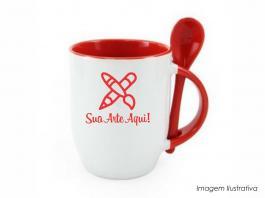 Caneca em cerâmica com colher alça e interior em vermelho Caneca cerâmica   Sublimação