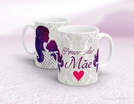 Caneca em cerâmica dia das mães - Amor de Mãe Cerâmica branca   Sublimação