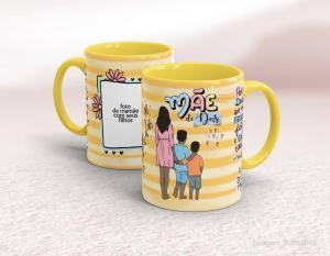 Caneca em cerâmica dia das mães - mãe de dois Cerâmica branca interior e alça amarelo   Sublimação