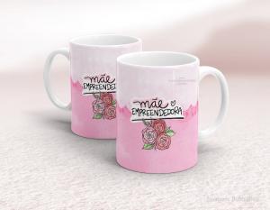 Caneca em cerâmica dia das mães - mãe empreendedora Cerâmica branca   Sublimação