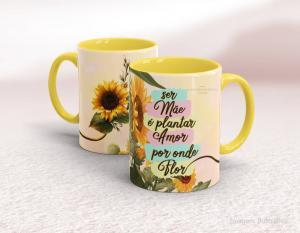 Caneca em cerâmica dia das mães - ser mãe é plantar amor por onde flor