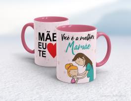 Caneca em cerâmica dia das mães - Você é a melhor mãe Cerâmica branca interior e alça rosa   Sublimação