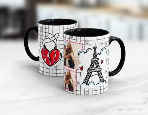 Caneca em cerâmica dia dos namorados - amor em paris Cerâmica branca interior e alça preta   Sublimação