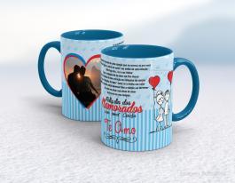 Caneca em cerâmica dia dos namorados - eterna namorada Cerâmica branca interior e alça azul   Sublimação
