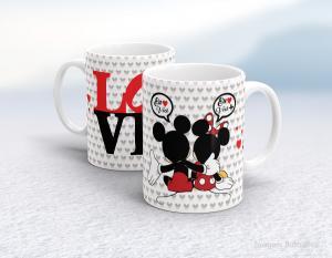 Caneca em cerâmica dia dos namorados - mickey e minnie love Cerâmica branca interior e alça branca   Sublimação