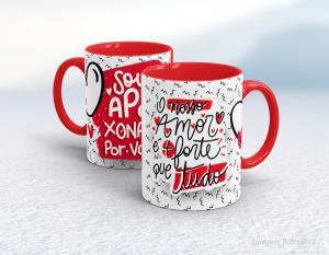 Caneca em cerâmica dia dos namorados - o nosso amor é + forte que tudo Cerâmica branca interior e alça vermelha   Sublimação