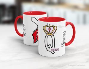 Caneca em cerâmica dia dos namorados - queem Cerâmica branca interior e alça vermelha   Sublimação