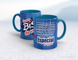 Caneca em cerâmica dia dos namorados - quero bis de você Cerâmica branca interior e alça azul   Sublimação