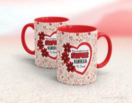 Caneca em cerâmica dia dos namorados - super namorada Cerâmica branca interior e alça vermelha   Sublimação