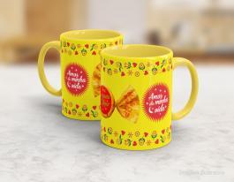 Caneca em cerâmica páscoa - Serenata de Amor Cerâmica branca interior e alça amarela   Sublimação