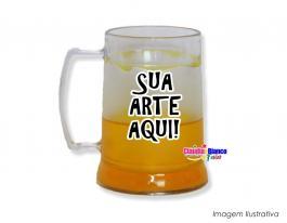 Caneca gel congelante amarelo de 400ml Polietileno   Adesivo Vinil UV Led ou Silk-Screen