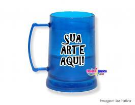 Caneca gel congelante azul de 400ml Polietileno   Adesivo Vinil UV Led ou Silk-Screen