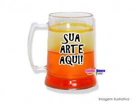 Caneca gel congelante laranja de 400ml Polietileno   Adesivo Vinil UV Led ou Silk-Screen