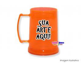 Caneca gel congelante laranja fluorescente de 400ml Polietileno   Adesivo Vinil UV Led ou Silk-Screen
