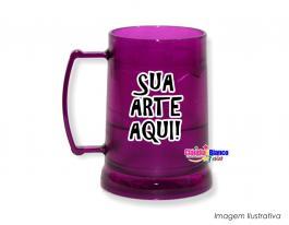 Caneca gel congelante roxa de 400ml Polietileno   Adesivo Vinil UV Led ou Silk-Screen