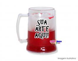 Caneca gel congelante vermelha de 400ml Polietileno   Adesivo Vinil UV Led ou Silk-Screen