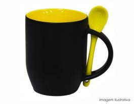Caneca mágica em cerâmica com colher alça e interior em amarelo Caneca cerâmica   Sublimação