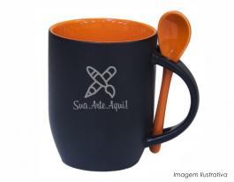 Caneca mágica em cerâmica com colher alça e interior em laranja Caneca cerâmica   Sublimação