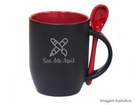 Caneca mágica em cerâmica com colher alça e interior em vermelho Caneca cerâmica   Sublimação