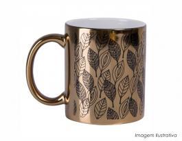 Caneca dourada personalizada com alto brilho de 325ml Caneca cerâmica 325ml  Sublimação