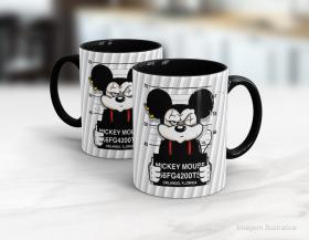 Caneca personalizada mickey mouse Cerâmica branca interior e alça preta   Sublimação