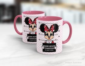 Caneca personalizada minnie mouse Cerâmica branca interior e alça rosa   Sublimação