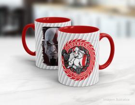 Caneca personalizada spartan in training Cerâmica branca interior e alça vermelha   Sublimação