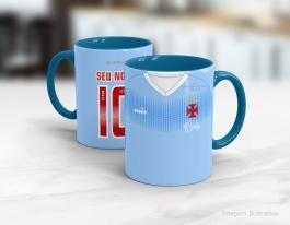 Caneca personalizada vasco - 120 anos Cerâmica branca interior e alça azul   Sublimação