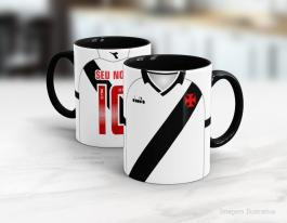 Caneca personalizada vasco 2019 - segundo uniforme Cerâmica branca interior e alça preta   Sublimação