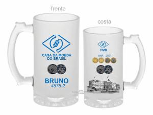 CANECA DE VIDRO JATEADA CASA DA MOEDA BRASIL ZERO GRAU 475ml  VIDRO JATEADA