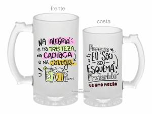 Caneca zero grau dia dos namorados - na alegria e na tristeza, na cachaça e na cerveja Vidro Jateada 500ml  Sublimação