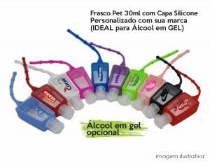 Chaveiro Porta Álcool Gel Capa em Silicone Personalizado Pet com capa silicone 35ml    A inclusão do álcool gel é opcional