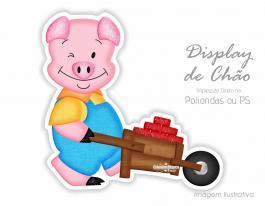 Display Totem de chão - Três porquinhos Poliondas ou P.S.   Impressão UV