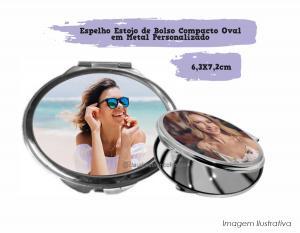 Espelho Estojo de Bolso Compacto Oval em Metal Personalizado Espelho Oval em Metal 6,3 X 7,2cm  Sublimação