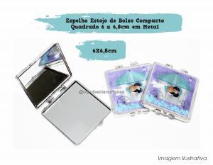Espelho Estojo de Bolso Compacto Quadrado em Metal Personalizado Espelho Quadrado em Metal 6 x 6,8cm  Sublimação
