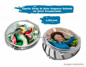 Espelho Estojo de Bolso Compacto Redondo em Metal Personalizado Espelho Redondo em Metal 6,2 X 6,6cm  Sublimação