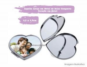 Espelho Estojo em Metal de Bolso Compacto Coração em Metal Espelho Coração em Metal 6,5 x 5,9cm  Sublimação