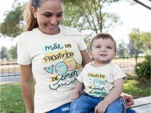 Kit Camiseta + body infantil pacotinho de amor Camisa Poliester e Body ribana 96% poliéster + 4% elastano Estampa Colorida  Sublimação