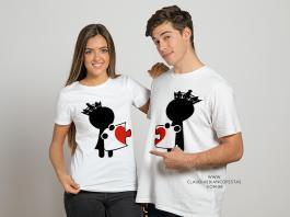 kit camiseta dia dos namorados amor você me completa Tecido 100% Poliéster Estampa Colorida A3  Sublimação
