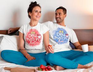kit camiseta dia dos namorados - deu match Tecido 100% Poliéster Estampa Colorida A3  Sublimação