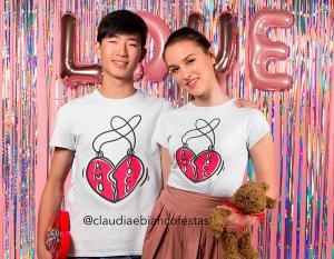 kit camiseta dia dos namorados - eu amo você Tecido 100% Poliéster Estampa Colorida A3  Sublimação