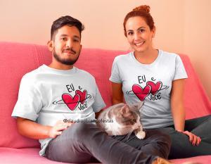 kit camiseta dia dos namorados - eu amor você Tecido 100% Poliéster Estampa Colorida A3  Sublimação