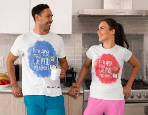 kit camiseta dia dos namorados - eu te amo mais de mil milhões Tecido 100% Poliéster Estampa Colorida A3  Sublimação