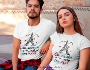 kit camiseta dia dos namorados - eu viajaria o mundo com você Tecido 100% Poliéster Estampa Colorida A3  Sublimação
