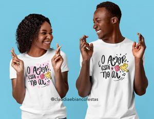 kit camiseta dia dos namorados - o amor está no ar Tecido 100% Poliéster Estampa Colorida A3  Sublimação