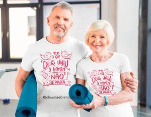 kit camiseta dia dos namorados - o que Deus uniu não separa o homem Tecido 100% Poliéster Estampa Colorida A3  Sublimação